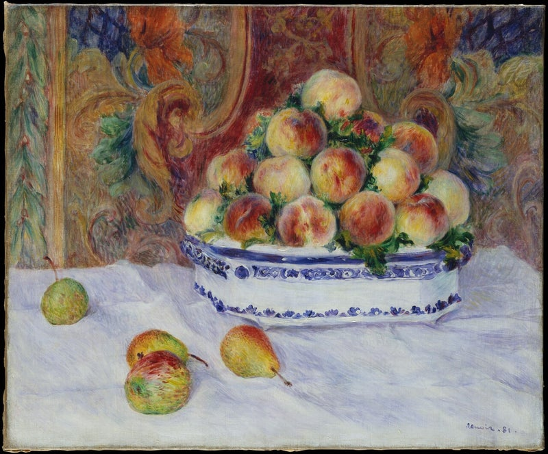 Still Life with Peaches and Grapes, Auguste Renoir ,https://www.metmuseum.org/art/collection/search/437428